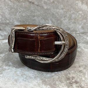 Brighton Dark Brown Leather Belt Size 32 Western